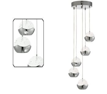 Chrome  5 Light LED Multi-Drop Pendant  - 7355-5CC