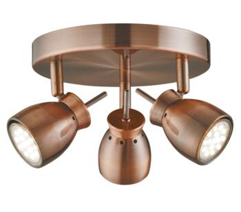 Antique Copper 3 Light Ceiling Spotlight - 8813CU
