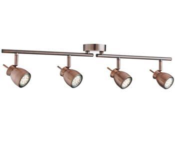 Antique Copper 4 Light Adjustable Bar Spotlight  - 8814CU