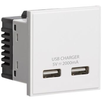 Dual USB charger (2A) Module - White
