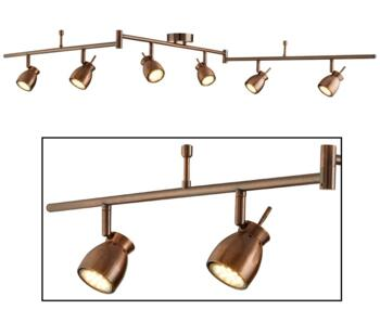 Antique Copper 6 Light Adjustable Ceiling Bar Spotlight - 8816CU