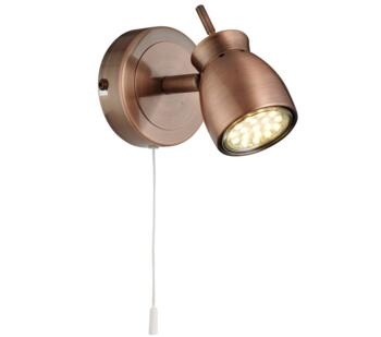 Antique Copper 1 Light Switched Wall Spotlight  - 8811CU