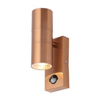 Copper Outdoor Up/Down Wall Light With PIR - ZN-29179-COP