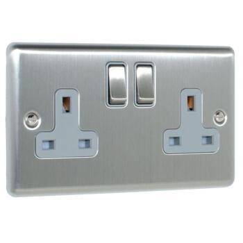 Satin Stainless Steel Double Socket - 1 Piece