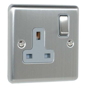 Satin Stainless Steel & Grey Single Socket - Grey Insert 1 Gang