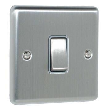Satin Stainless Steel & Grey Light Switch - 1 Gang 2 Way Single