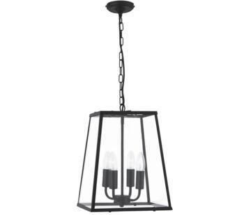 Matt Black 4 Light Pendant Lantern - 5614BK