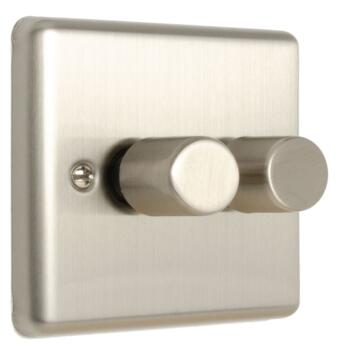 Satin Stainless Steel Dimmer Switch 400w/LED - Double