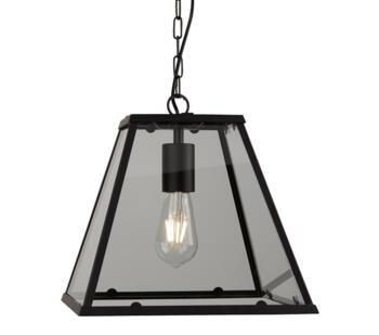 Matt Black 1 Light Pendant Lantern - 4661BK