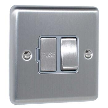 Satin Stainless Steel & Grey 13A Fused Spur Connection Unit - Switched