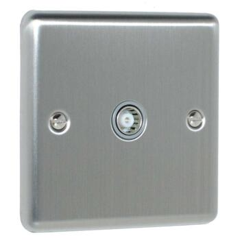 Satin Stainless Steel & Grey Co-Axial Television Socket - 1 Gang Single TV