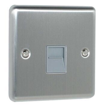 Satin Stainless Steel & Grey Phone Socket - Secondary / Slave