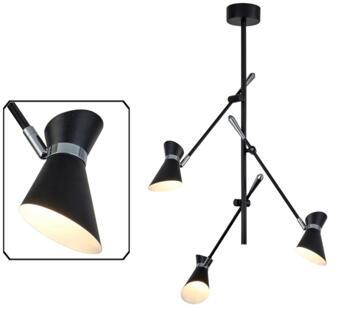 Matt Black & Chrome 3 Light LED Ceiling Light - 5943-3BW