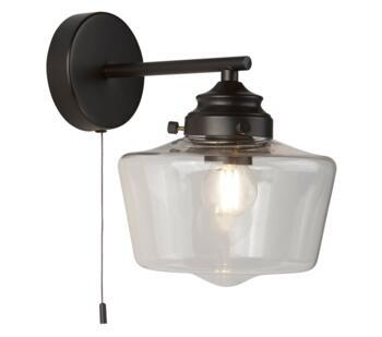 Black 1 Light Wall Light  - 8708-1BK