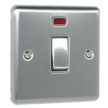 Satin Stainless Steel & Grey 20A DP Isolator Switch - With Neon