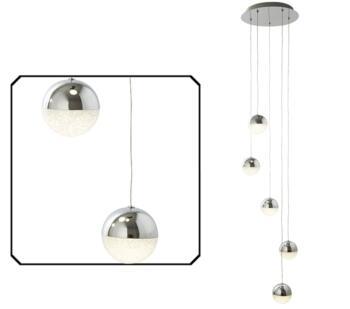 Chrome 5 Light Globe LED Pendant  - 5845-5CC