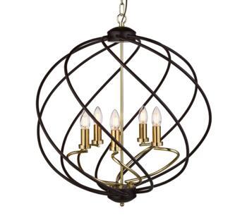 Black Cage 5 Light Ceiling Pendant - 1805-5BK