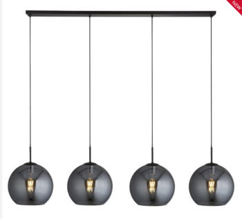 Matt Black 4 Light Bar Pendant & Smoked Glass  - 1024-4SM