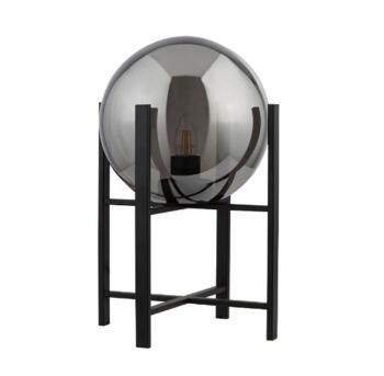 Matt Black Table Lamp 4 Leg Base With Round Smokey Glass Shade - 1029-1SM