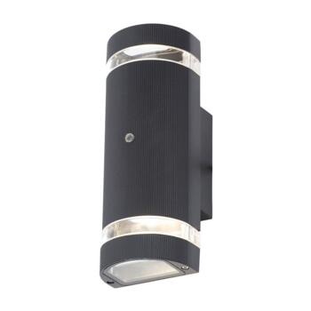 Black IP44 Up/Down Wall Light with Photocell - ZN-34040-BLK