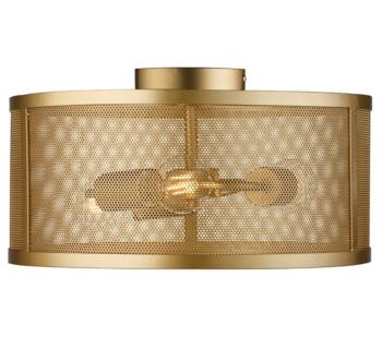 Fishnet Matt Gold 3 Light Cage Flush Ceiling Fitting - 2843-3GO