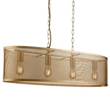 Matt Gold Fishnet Cage 4 Light Pendant - 2484-4GO