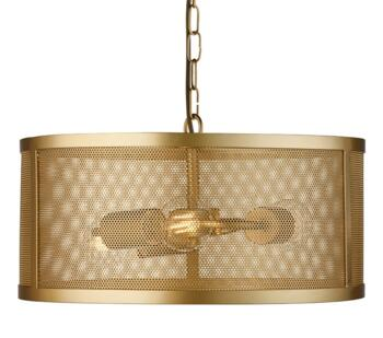 Matt Gold Fishnet Cage 3 Light Pendant - 12483-3GO