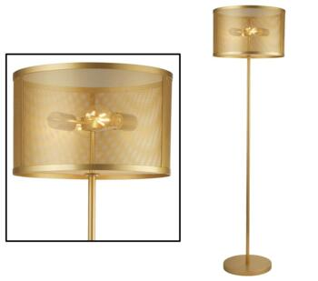 Matt Gold Fishnet Cage 2 Light Floor Lamp - 2832-2GO