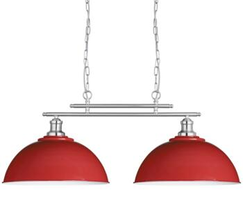 Red & Satin Silver 2 Light Ceiling Bar Pendant  - 0932-2RE