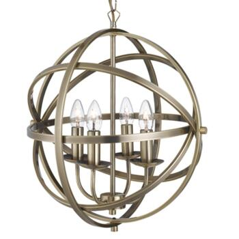 Vintage 4 Light Metal Cage Pendant AB - Antique Brass