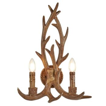 Stag 2 Light Antler Wall Light  - 6412-2BR