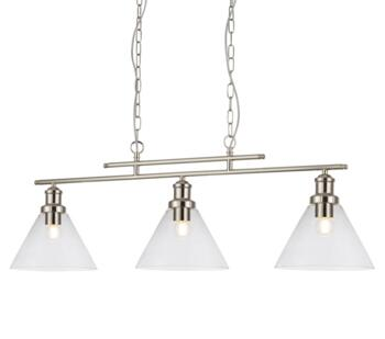 Metal Satin Silver 3 Light Bar Pendant - 1277-3SS