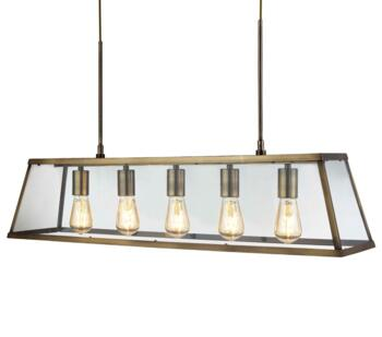 Antique Brass 5 Light Box/Bar Pendant - 4614-5AB