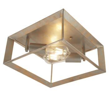 Brushed Silver & Gold Flush Ceiling Light - 2412-2SI