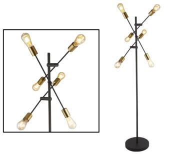 Black & Satin Brass 6 Light Floor Lamp - 8076-6BK