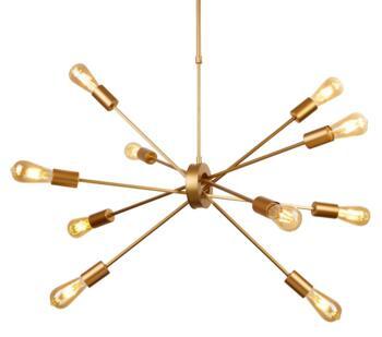 Matt Gold 10 Light Ceiling Pendant - 29010-10GO