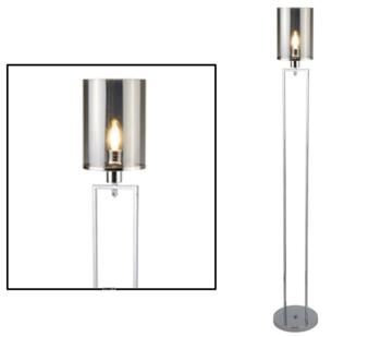 Chrome/Smoked Glass 1 Light Floor Lamp - 9053CC