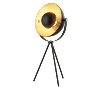 Matt Black/Gold Shade 1 Light Tripod Table Lamp - 8021BK
