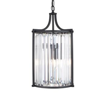 Matt Black 2 Light Pendant Light  - 8092-2BK