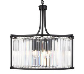 Matt Black 5 Light Drum Pendant Light - 8295-5BK