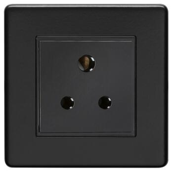 Screwless Matt Black 5a Lighting Socket - Metal - Unswitched
