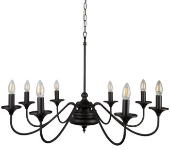 Matt Black Large 8 Light Ceiling Light - 6178-8BK