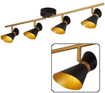 Matt Black & Gold 4 Light Split-Bar LED Spotlight - 5924BG