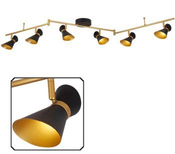 Matt Black & Gold 6 Light Split-Bar LED Spotlight - 5926BG