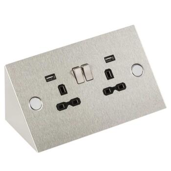 Mountable 2 Gang 13A Kitchen Double Socket With USB - SKR002A