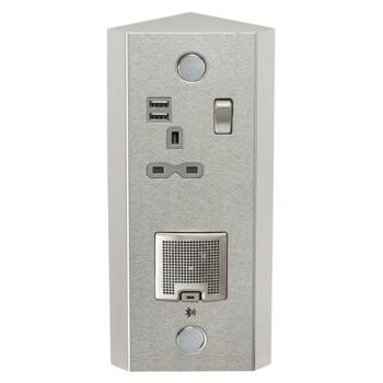 13A 1G Vertical Switched Socket with Dual USB Charger (2.4A) and 3W RMS Bluetooth Speaker - SKR0013