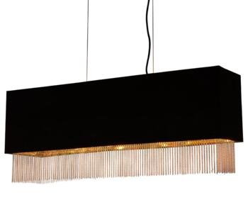 Black 4 Light Box Pendant - 8724-4BK