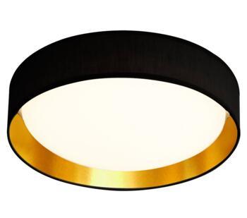 Flush 1 Light 15W LED Ceiling Light - Black/Gold Inner