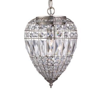 Satin Silver 1 Light Pendant Ceiling Light - 3991SS
