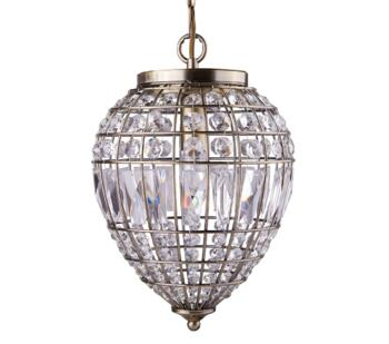Antique Brass 1 Light Pendant Ceiling Light - 3991AB